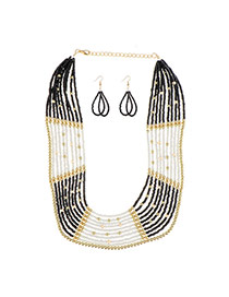 Exaggerated Black Multilayer Beads Weaving Decorated Simple Jewelry Sets