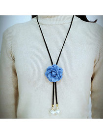 Fashion Blue Flower Decorated Simple Long Chain Necklace