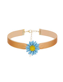 Sweet Light Tan Sunflower Shape Decorated Pure Color Chocker