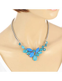 Elegant Blue Waterdrop Gemstone Decorated Short Chain Necklace