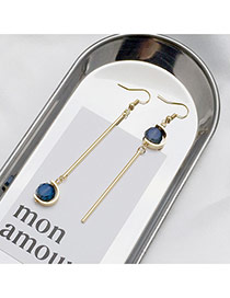 Elegant Dark Blue Round Shape Diamond Decorated Asymmetric Design Simple Earrings