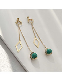 Elegant Green Pearls&square Shape Decorated Hollow Out Simple Earrings