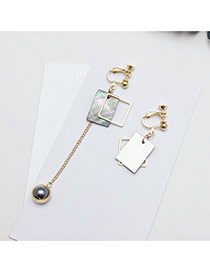 Elegant Gray Pearls&square Shape Decorated Hollow Out Simple Earrings