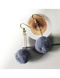 Elegant Light Gray Fuzzy Ball Pendant Decorated Pure Color Simple Earrings