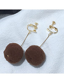 Elegant Coffee Fuzzy Ball Pendant Decorated Pure Color Simple Earrings