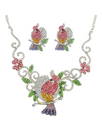 Luxury Multi-color Parrot Shape Decorated Hollow Out Jewelery Sets