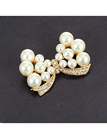Luxury White Round Pearl Decorated Hollow Out Bowknot Shape Brooch
