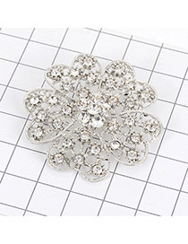 Luxury Silver Color Diamond Decorated Hollow Out Flower Shape Brooch