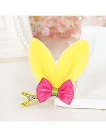 Lovely Yellow Bowknot Decorated Rabbit Ears Shape Color Matching Simple Hair Clip
