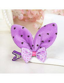Lovely Purple Dot Decorated Rabbit Ears Shape Color Matching Simple Hair Clip