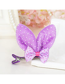 Lovely  Dot Decorated Rabbit Ears Shape Color Matching Simple Hair Clip