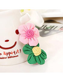 Fashion Green+pink Flowers Decorated Color Matching Design Simple Hair Clip