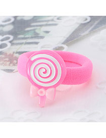 Fashion Pink Lollipop Shape Decorated Color Matching Design Hair Rope
