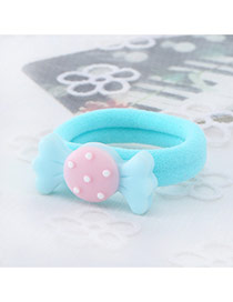 Fashion Blue Candy Shape Decorated Color Matching Design Hair Rope