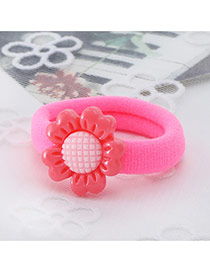 Fashion Plum Red Sunflower Decorated Color Matching Simple Hair Rope