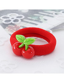 Fashion Red Cherry Decorated Color Matching Simple Hair Rope