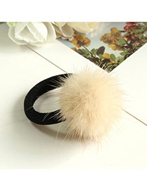 Fashion Khaki Fuzzy Ball Decorated Pure Color Design Simple Hair Rope