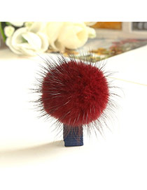 Fashion Claret Red Fuzzy Ball Decorated Pure Color Design Simple Hair Clip