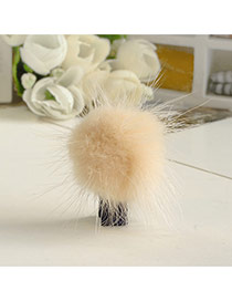 Fashion Khaki Fuzzy Ball Decorated Pure Color Design Simple Hair Clip