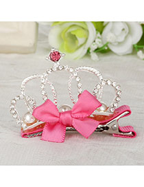 Fashion Watermelon Red Crown Decorated Bowknot Design Simple Hair Clip