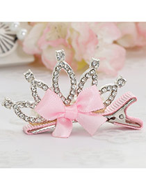 Fashion Red Crown Decorated Bowknot Design Simple Hair Clip