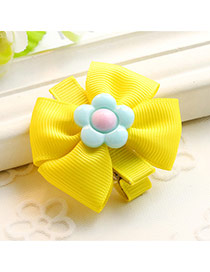 Fashion Yellow Sunflower Decorated Color Matching Design Simple Hair Clip