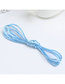 Sweet Light Blue Pure Color Decorated Multilayer Hair Band