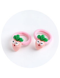 Sweet Pink Radish Shape Decorated Pure Color Hair Band(2pcs)