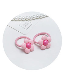 Sweet Pink Flower Shape Decorated Simple Pure Color Hair Band(2pcs)