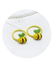 Sweet Yellow Cartoon Bee Shape Decorated Pure Color Hair Band(2pcs)