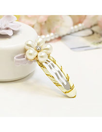 Sweet Yellow Pearl Flower Shape Decorated Simple Hair Clip
