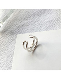 Temperament Silver Color Double Layer Decorated Hollow Out Opening Ear Clip