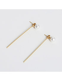 Fashion Gold Color Pearl Decorated Pure Color Long Chain Earrings