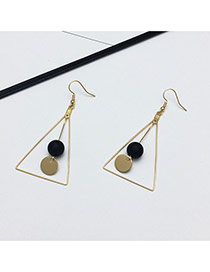 Fashion Gold Color Metal Round Shape & Triangle Design Simple Earrings