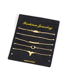 Fashion Gold Color Leaf Decorated Pure Color Design Simple Bracelet (5pcs)