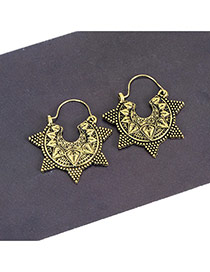 Fashion Antique Bronze Star Shape Decorated Pure Color Simple Earrings