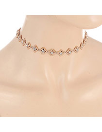 Fashion Gold Color Diamond Decorated Hollow Out Design Simple Choker