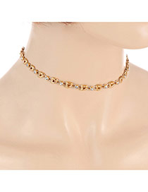 Fashion Gold Color Round Shape Diamond Decorated Hollw Out Heart Shape Design Choker