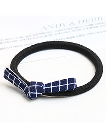Sweet Navy Grid Decorated Bowknot Design Simple Hair Band