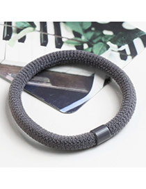 Trendy Gray Pure Color Decorated Simple Thick Hair Band