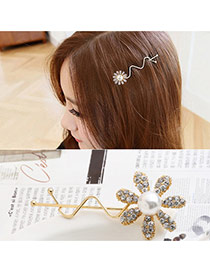 Trendy White Flower Decorated Curve Shape Design Simple Hair Pin