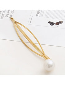 Trendy Gold Color Pearl Decorated Hollow Out Design Hair Pin