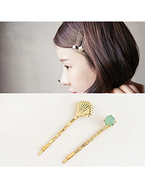 Trendy Khaki Round Shape Diamond Decorated Sector Shape Hair Pin