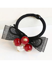 Trendy Red Beads Pendant Decorated Bowknot Design Hair Band