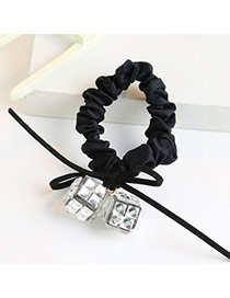 Trendy Gray Square Shape Diamond Decorated Bowknot Design Hair Band