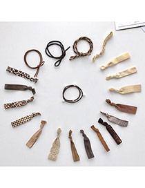 Trendy Coffee Pearls Decorated Color Matching Design Simple Hair Band (20pcs)