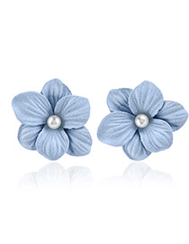 Fashion Blue Pearl Decorated Flower Design Simple Earrings