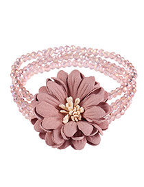 Fashion Pink Flower&becads Decorated Multi-layer Design Bracelet