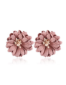 Fashion Pink Flower Decorated Pure Color Design Simple Earrings