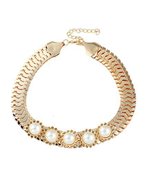 Fashion Gold Color Oval Shape Diamond Decorated Hollow Out Design Necklace